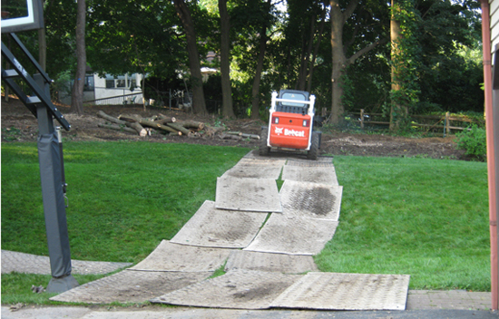Lawn protection mats during your project